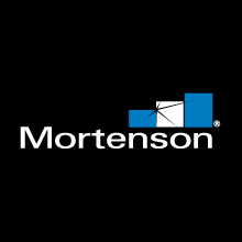 Mortenson logo on dark background