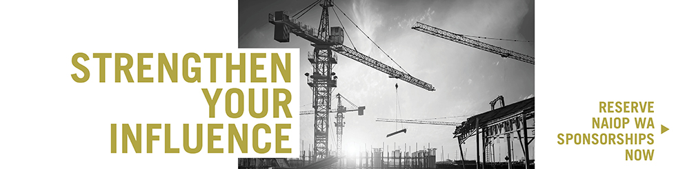 Banner image promoting 2019 Sponsorships with image of construction crane