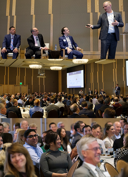 Stack of three photos showing speakers, audience at February NAIOPWA breakfast