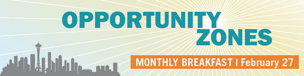 Banner image promoting February breakfast on Opportunity Zones