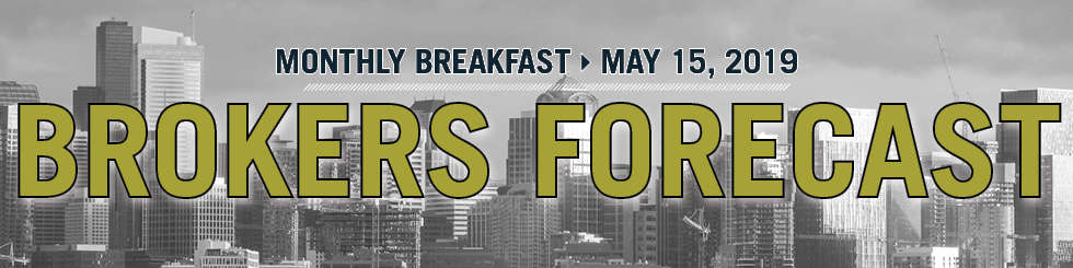 Banner image showing downtown Seattle promoting Broker Forecast breakfast on May 15 2019
