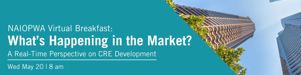 Banner promoting May breakfast regarding market update in real-time