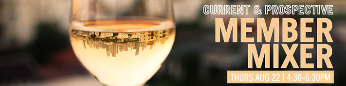 Banner with glass of white wine reflecting city horizon promoting event
