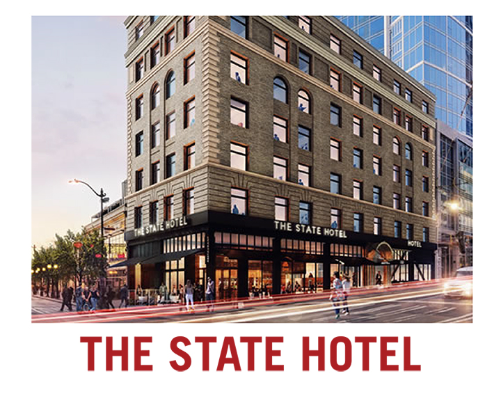 Rendering of State Hotel in downtown Seattle with Pike Place Market visible in background