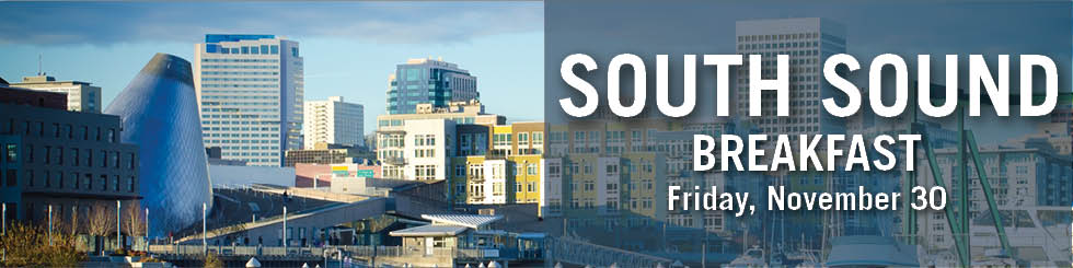Banner with city of Tacoma, WA, and text South Sound Breakfast November 30
