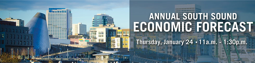 Banner image promoting 2019 South Sound Economic Forecast with image of downtown Tacoma
