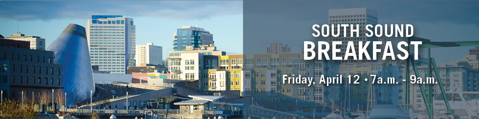 Banner image showing downtown Tacoma promoting South Sound breakfast on April 12