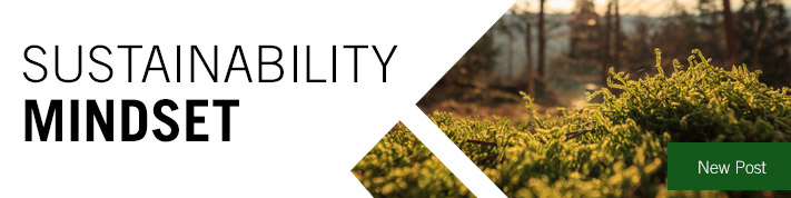 Sustainability Mindset blog header with closeup of moss at right and text New Post