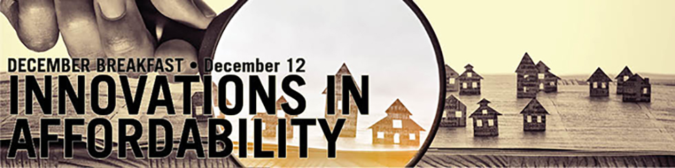 Banner promoting December breakfast shows hand holding magnifying glass on houses apparently made of paper popping up from a book